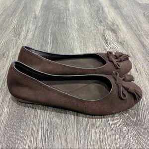 Crocs Lina Embellished Brown Suede Ballet Flats